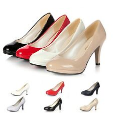 Women Patent Leather Round Toe Stiletto High Heels Platform Pumps Work Shoes Pop