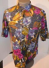 Ike Behar Hawaiian Floral Short Sleeve Button Up Shirt 100% Cotton Mens Medium
