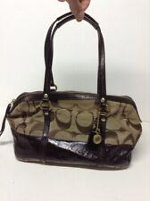 Coach #12430 Signature Stripe Brown Patent Leather Canvas Logo Satchel