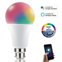 B22/E27 10W WIFI RGBW Warm/Cool Colour Changing LED Light Bulb Alexa Google Home