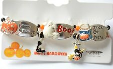 Halloween Tile Bracelet / Stretch ~ Silver-tone / Pumpkins ~ Witch ~ Ghost