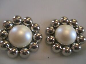 LOT OF 2 SILVER & WHITE 1 13/16 INCH SHANK BUTTONS, NEW,