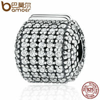 Bamoer European 925 Sterling Silver Clip Charm Pave Barrel Clear CZ fit Bracelet