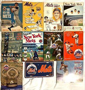 Lot of (10) Vintage New York Mets Yearbooks & Programs 1965, 1967, 1968 Thru 72