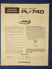 PIONEER PL-740 TURNTABLE OWNER MANUAL FACTORY ORIGINAL THE REAL THING