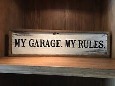 Man Cave, fathers day, dad, garage rules Rustic farmhouse style Wood Sign