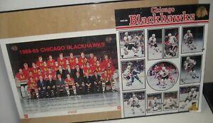 2 LOT Vintage Chicago Blackhawks POSTERS 1987-88 1988-89 Coke Kodak FREE Ship