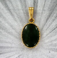 JADE  GEMSTONE  PENDANT IN 14KT ROLLED GOLD SETTING