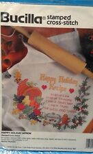 Bucilla 64179 Stamped Cross Stitch Happy Holiday Apron 1994 New Unopened Package