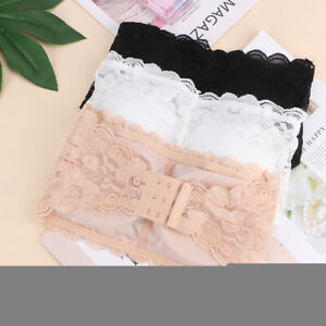 3pcs Ladies Lace Strapless Padded Boob Stretch Bandeau Tube Bra Tops