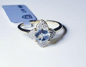 Gorgeous 10k Yellow Gold Aquamarine & White Zircon Ring Size 7/ Anillo de Oro