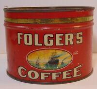 Old Vintage 1929 1930 FOLGER'S GRAPHIC KEYWIND COFFEE TIN ONE POUND KANSAS CITY