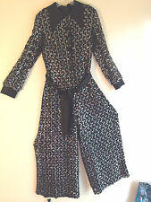 Retro Vtg Women's Black Lined Silver Sequin Satin Trim Cocktail Jumpsuit Costume