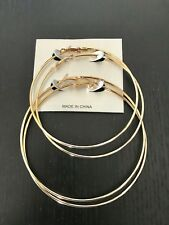 2 pairs Brand New Women Ladies Stainless Steel Circle Hoop Dangle Earrings gold