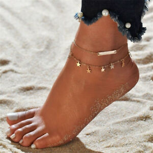 Fashion Ankle Bracelet Star Silver Gold Adjustable  Anklet Foot Chain UK Seller