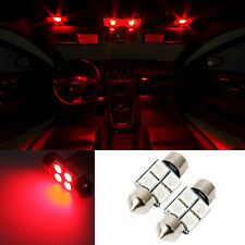 """2pc 31mm RED 1.25"""" Festoon Interior Dome Wedge 12V LED Light Bulbs DE3175 DE3022"""
