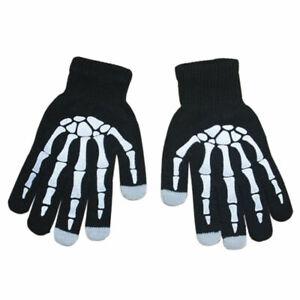 Halloween SPOOKY Skeleton Bone Skull Touch Screen Magic Gloves Winter Fall Black