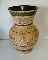 E** Vintage Dee Cee German pottery Vase brown beige ribbed body 30cm's tall