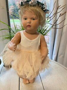 """15"""" antique wood Schoenhut doll """"Anna"""" restored label"""