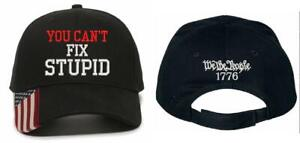 You Can't Fix Stupid We the People Embroidered Adjustable USA300 Hat & Back