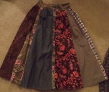 "Monte Milano Womens Boho Patchwork Full Skirt 30"" waist Maxi Hippie Medium Wool"