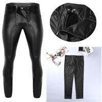 Men Shiny Faux Leather Pants Biker Motorcycle Legging Pencil Pants Long Trousers