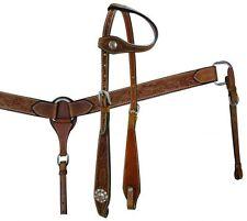Showman Medium Oil Leather Silver Conchos Horse Bridle Breast Collar Reins Set
