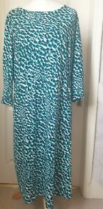 BODEN Size 20 L Multicoloured Dress- Green,Blue, White Print, Side Pockets