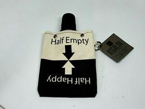 "Tote+Able Canvas Canteen Half Empty Half Happy Portable Reusable 6"" x 5"" Flask"