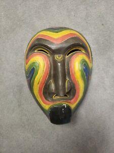 antique tribal mask wood japan? Polynesian? bali?
