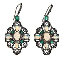 Meher's Jewel Ethiopian Opal, Black Spinel, Emerald & Champagne Diamond Earring