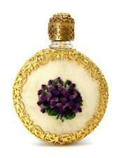 Vintage, Austrian Petite Point, Gold Filigree & Glass Perfume Bottle With Dauber