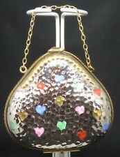 Collectible Vintage Hand Painted Limoges Miniature Purse, Hearts, Chain Handle