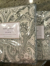 "Pottery Barn Set of 2 Mackenna Paisley Linen Cotton Curtain 50""x84"" Taupe NEW"