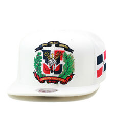 Mitchell & Ness Dominican Republic Snapback Hat Cap ALL WHITE/DR Emblem