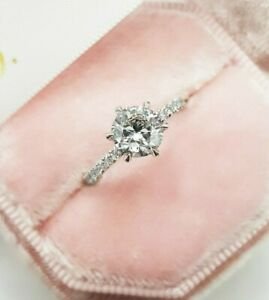 1.5 TCW Round Cut DVVS1 Forever Diamond Engagement Ring in 14K White Gold Finish
