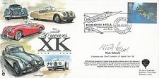 JS AS1e Jaguar 50 Years XK.Flown cachet Signed Nick Scheele Chairman Jaguar Cars