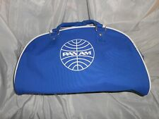 More details for vintage pan am airlines half moon blue pvc canvas flight carry on bag luggage