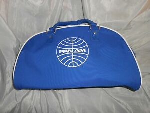 Vintage Pan Am Airlines Half Moon Blue PVC Canvas Flight Carry On Bag Luggage