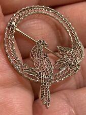 🔥🔥Fine 14K White Gold Detailed Filigree Parrot Bird Brooch Dove .585🔥🔥