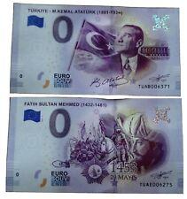 2 X 0 Euro Souvenir - TUAB en TUAE - Different Serial - Turkey