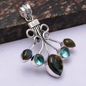 "Labradorite Blue Opal Ethnic Handmade Pendant Jewelry 2.4"" AP 45536"