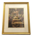 Foot Path in Monets Garden in Giverny by Claude Monet Lemon Gold Frame Print EUC
