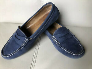 Lauren Ralph Camila Slate BLUE Leather Driving Penny Loafer Shoes Women 7 B
