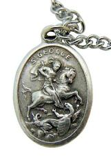 """St George Patron Saint Medal 3/4""""L Pendant with Stainless Steel Chain from Italy"""