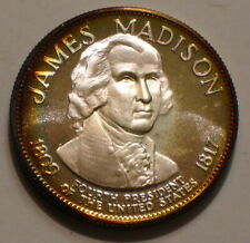 JAMES MADISON Presidential Commemorative Silver Medal 1 oz Gem RAINBOW Tones