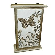 WALL KEY BOX CUPBOARD BUTTERFLY DESIGN 28CM SHABBY CHIC HAND CARVED MANGO WOOD
