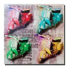 Retro Scooter a Muro Art, Pop Art Motorino Bici foto sul telaio legno 40 x 40