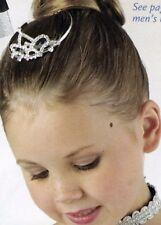 "NEW Metal Rhinestone Ballerina Ballet 1 3/4"" high Tiara  Bun Comb Plantinum colr"