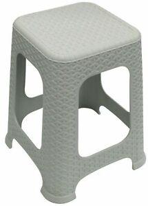 Large Rattan Stackable Stools Step Stool Plastic Indoor Outdoor Chair Light Grey